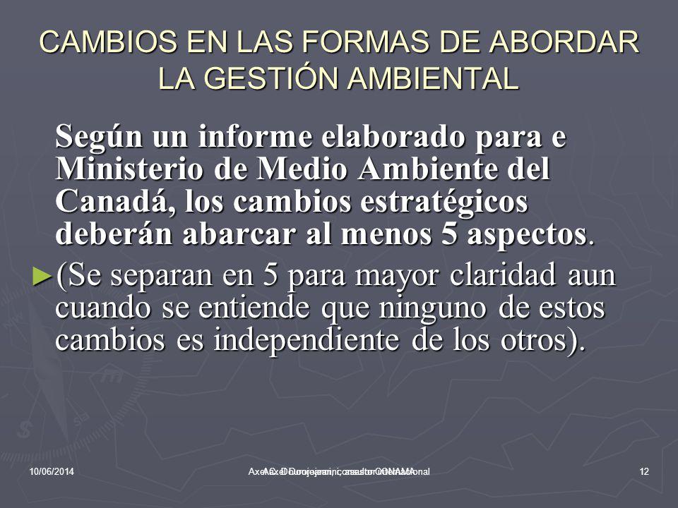 10/06/2014Aaxel Dourojeanni, asesor CONAMA CAMBIOS EN LAS FORMAS DE ABORDAR LA GESTIÓN AMBIENTAL En la medida que se va comprendiendo la complejidad y