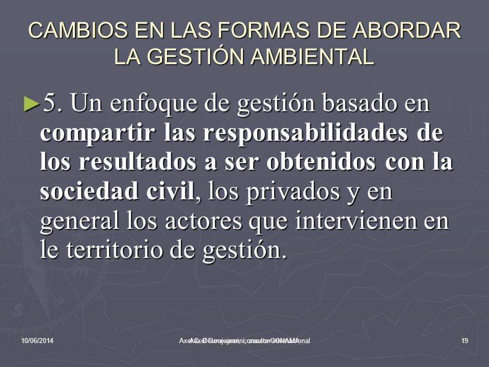 10/06/2014Aaxel Dourojeanni, asesor CONAMA CAMBIOS EN LAS FORMAS DE ABORDAR LA GESTIÓN AMBIENTAL 4.
