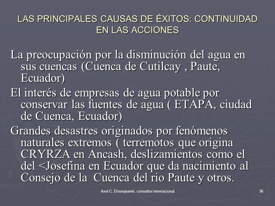 LAS PRINCIPALES CAUSAS DE ÉXITOS: CONTINUIDAD EN LAS ACCIONES La persistencia de un líder local y apoyo de centro académico (Cajamarca: Pablo Sánchez)
