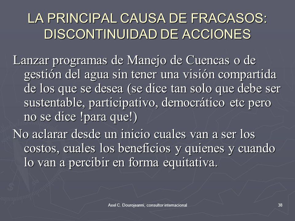 LAS PRINCIPALES CAUSAS DE ÉXITOS: CONTINUIDAD EN LAS ACCIONES Convenios Binacionales como los que el Perú tiene con Ecuador (Puyango Tumbes, Catamayo Chira) y con Bolivia /Lago Titicaca).