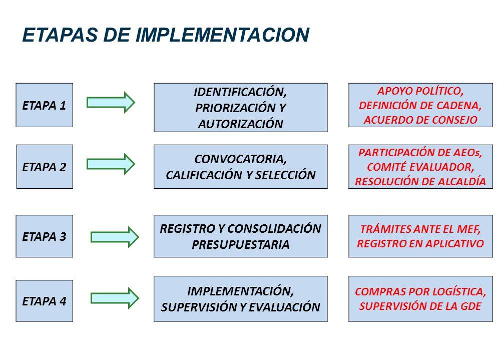 ETAPAS DE IMPLEMENTACION ETAPA 1 IDENTIFICACIÓN, PRIORIZACIÓN Y AUTORIZACIÓN ETAPA 2 CONVOCATORIA, CALIFICACIÓN Y SELECCIÓN ETAPA 3 REGISTRO Y CONSOLI