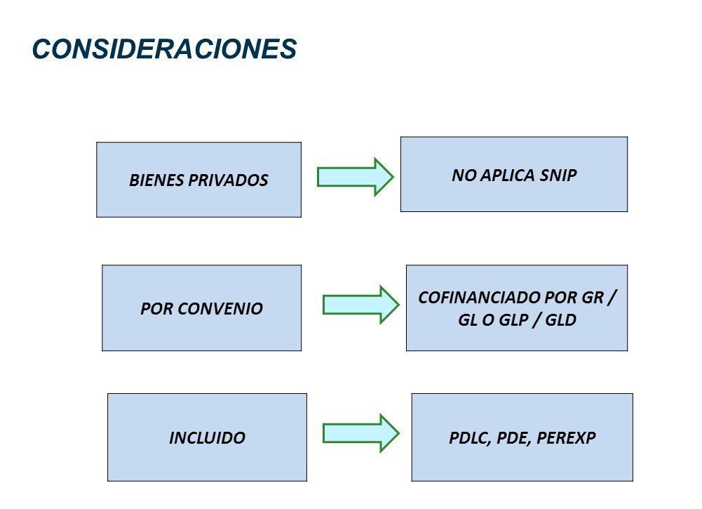 CONSIDERACIONES BIENES PRIVADOS NO APLICA SNIP POR CONVENIO COFINANCIADO POR GR / GL O GLP / GLD INCLUIDOPDLC, PDE, PEREXP
