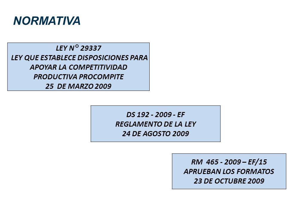 NORMATIVA LEY N° 29337 LEY QUE ESTABLECE DISPOSICIONES PARA APOYAR LA COMPETITIVIDAD PRODUCTIVA PROCOMPITE 25 DE MARZO 2009 DS 192 - 2009 - EF REGLAME