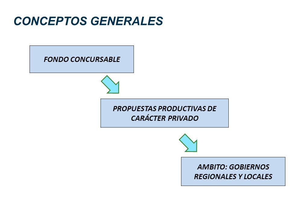 CONCEPTOS GENERALES FONDO CONCURSABLE PROPUESTAS PRODUCTIVAS DE CARÁCTER PRIVADO AMBITO: GOBIERNOS REGIONALES Y LOCALES