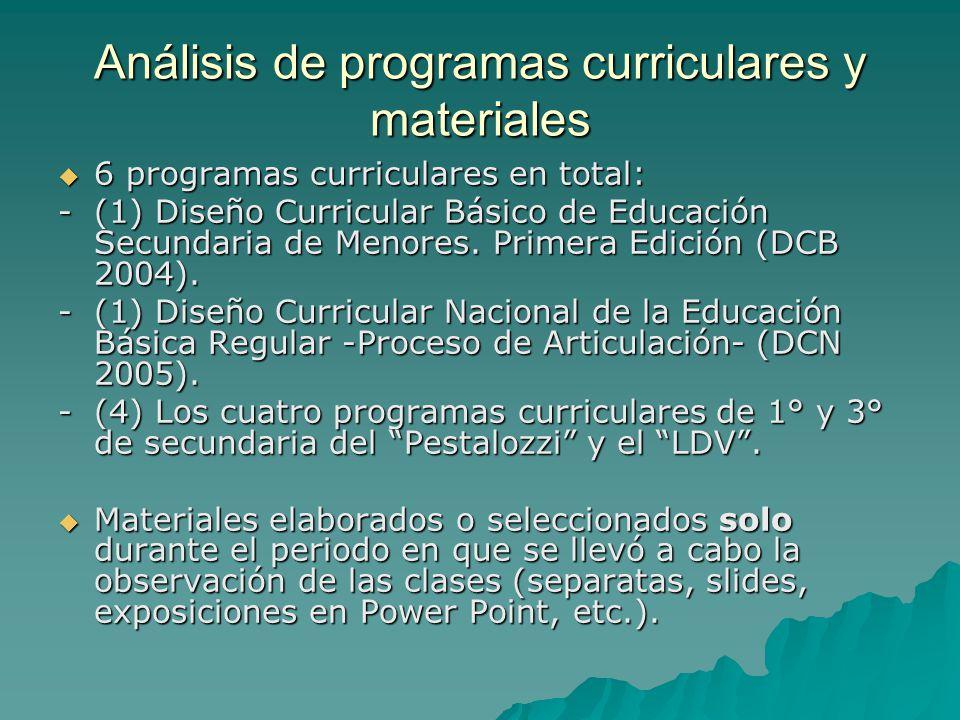 Análisis de programas curriculares y materiales 6 programas curriculares en total: 6 programas curriculares en total: - (1) Diseño Curricular Básico d
