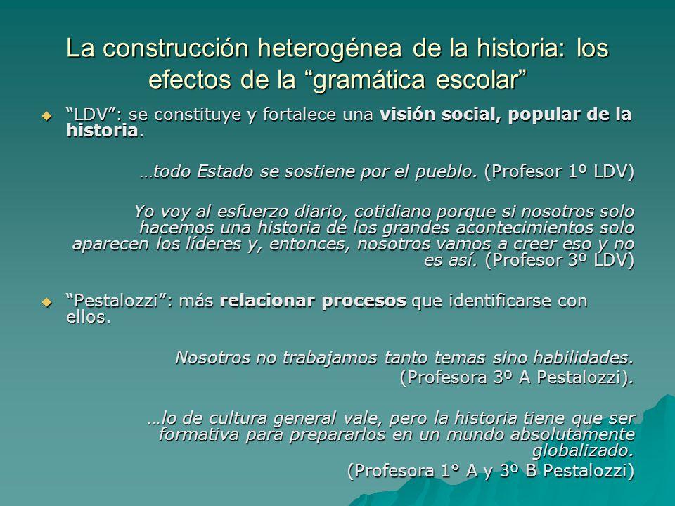 La construcción heterogénea de la historia: los efectos de la gramática escolar LDV: se constituye y fortalece una visión social, popular de la histor