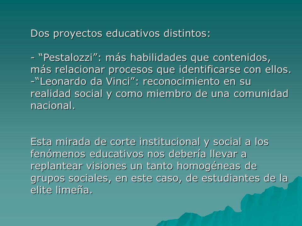Dos proyectos educativos distintos: - Pestalozzi: más habilidades que contenidos, más relacionar procesos que identificarse con ellos. -Leonardo da Vi