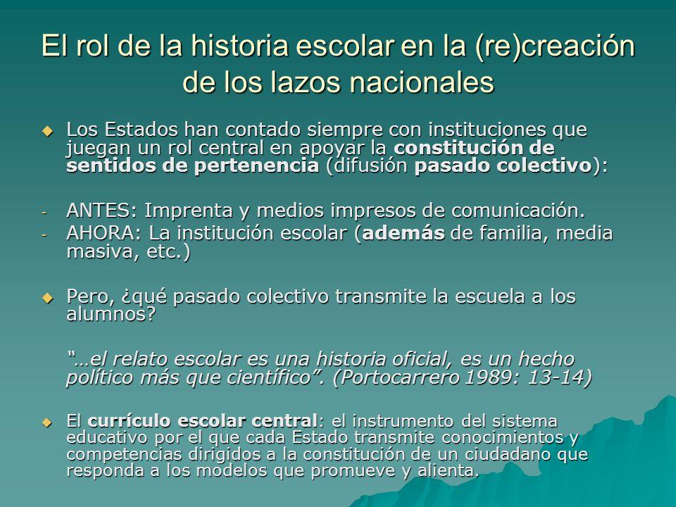 El rol de la historia escolar en la (re)creación de los lazos nacionales Los Estados han contado siempre con instituciones que juegan un rol central e
