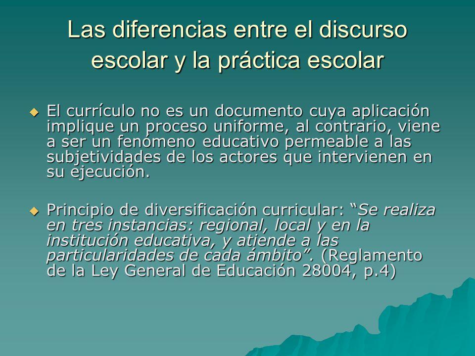 Las diferencias entre el discurso escolar y la práctica escolar El currículo no es un documento cuya aplicación implique un proceso uniforme, al contr