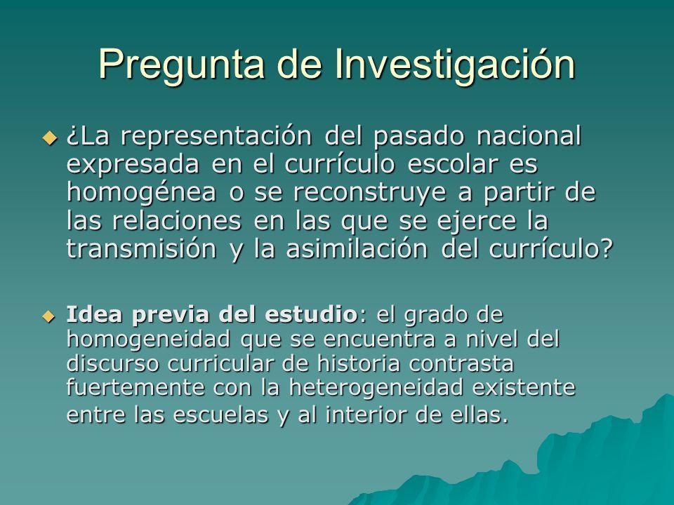 Pregunta de Investigación ¿La representación del pasado nacional expresada en el currículo escolar es homogénea o se reconstruye a partir de las relac