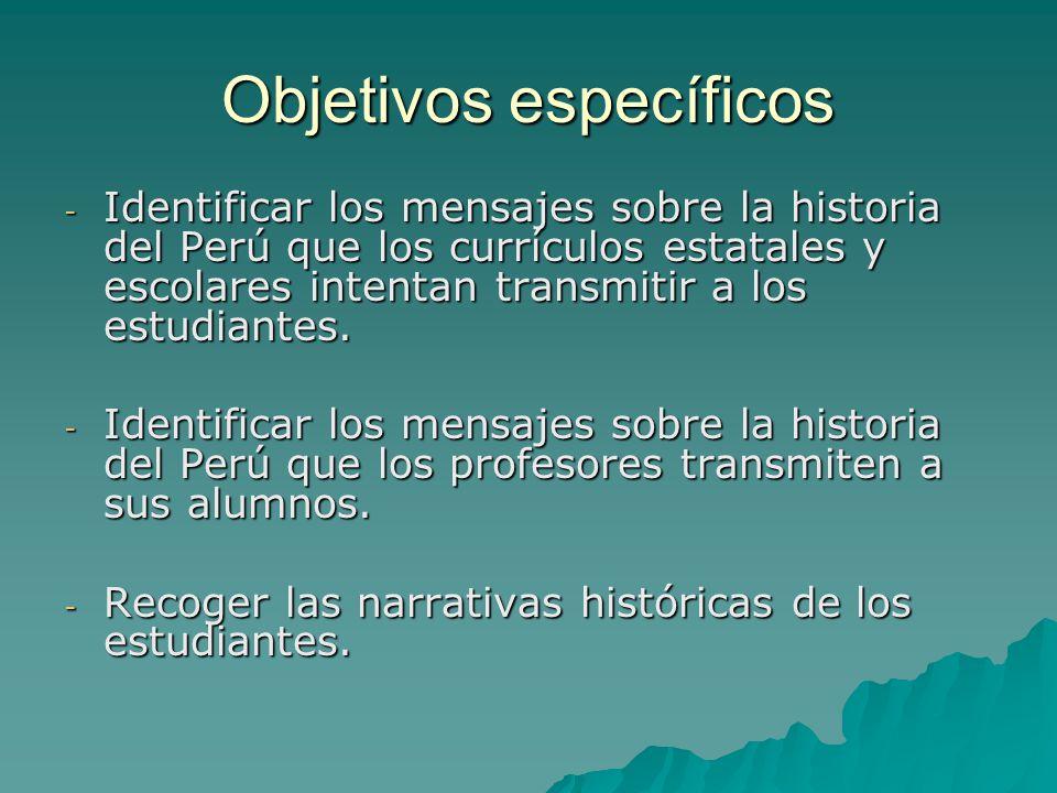 Objetivos específicos - Identificar los mensajes sobre la historia del Perú que los currículos estatales y escolares intentan transmitir a los estudia