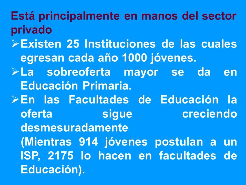 Está principalmente en manos del sector privado Existen 25 Instituciones de las cuales egresan cada año 1000 jóvenes.