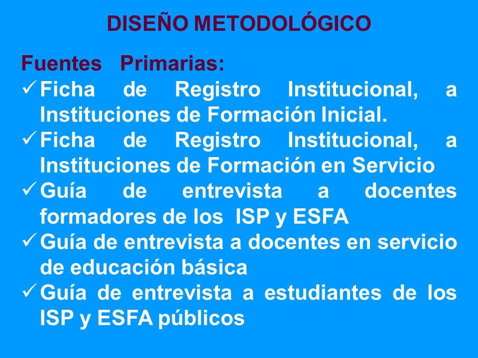 Fuentes Primarias: Ficha de Registro Institucional, a Instituciones de Formación Inicial.