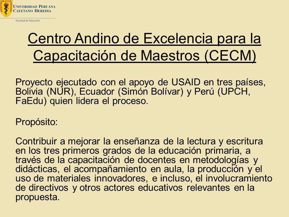 Centro Andino de Excelencia para la Capacitación de Maestros (CECM) Proyecto ejecutado con el apoyo de USAID en tres países, Bolivia (NUR), Ecuador (S