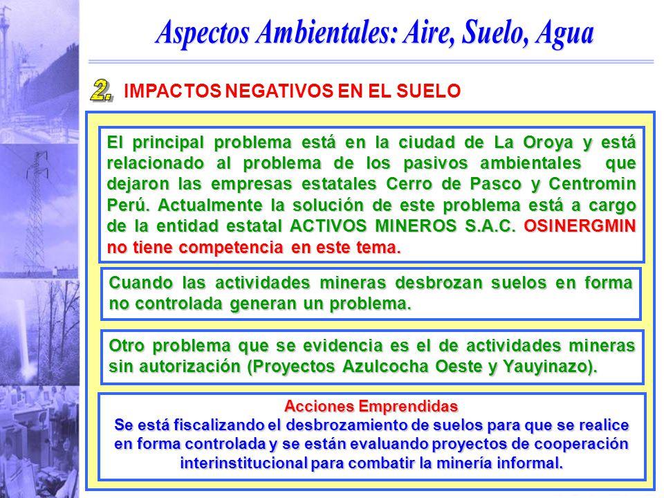 OSINERGMIN IMPACTOS NEGATIVOS EN EL SUELO El principal problema está en la ciudad de La Oroya y está relacionado al problema de los pasivos ambientales que dejaron las empresas estatales Cerro de Pasco y Centromin Perú.