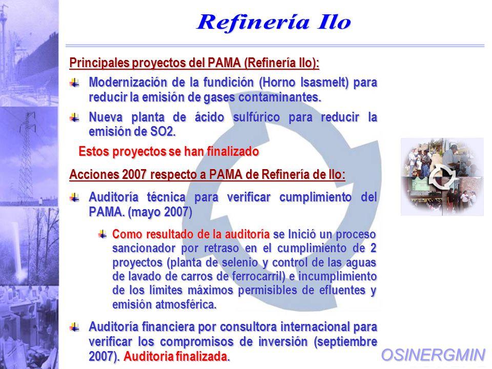 OSINERGMIN Principales proyectos del PAMA (Refinería Ilo): Modernización de la fundición (Horno Isasmelt) para reducir la emisión de gases contaminantes.