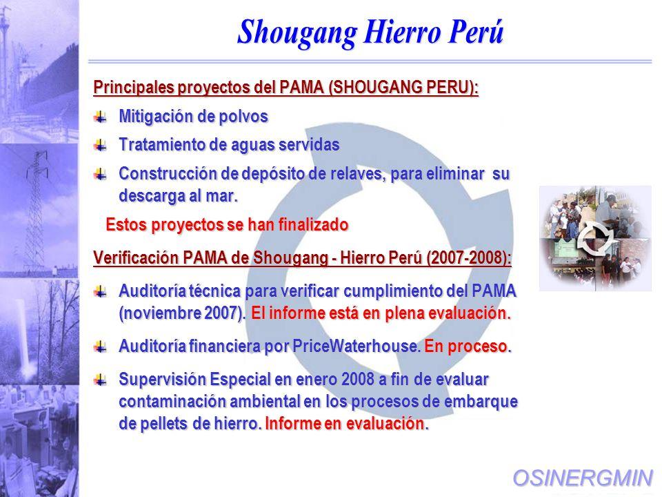 OSINERGMIN Principales proyectos del PAMA (SHOUGANG PERU): Mitigación de polvos Tratamiento de aguas servidas Construcción de depósito de relaves, para eliminar su descarga al mar.