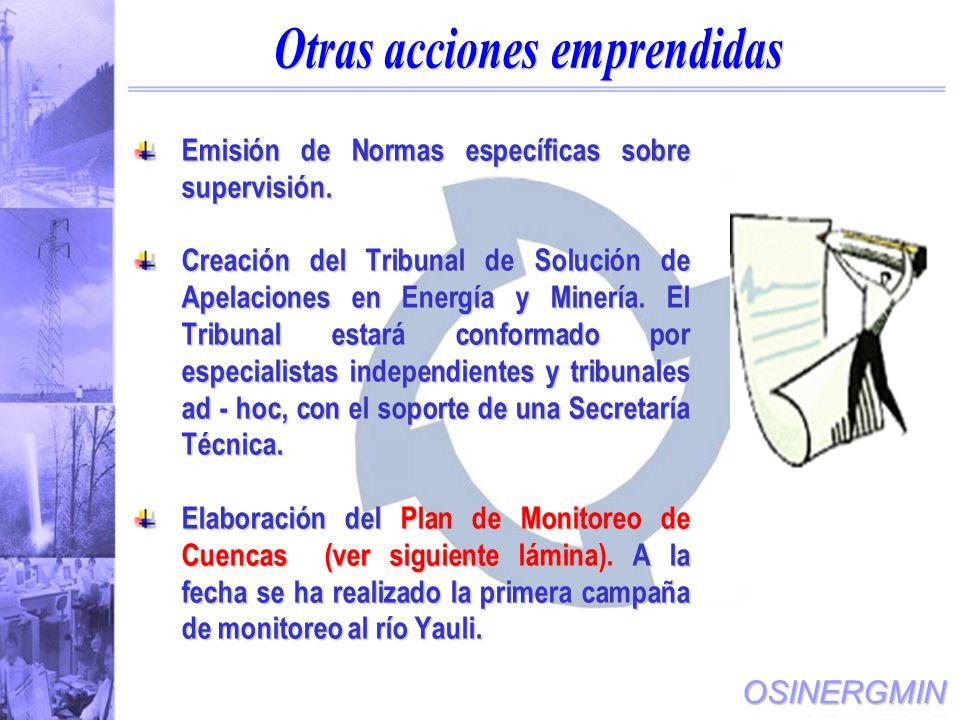 OSINERGMIN Emisión de Normas específicas sobre supervisión.
