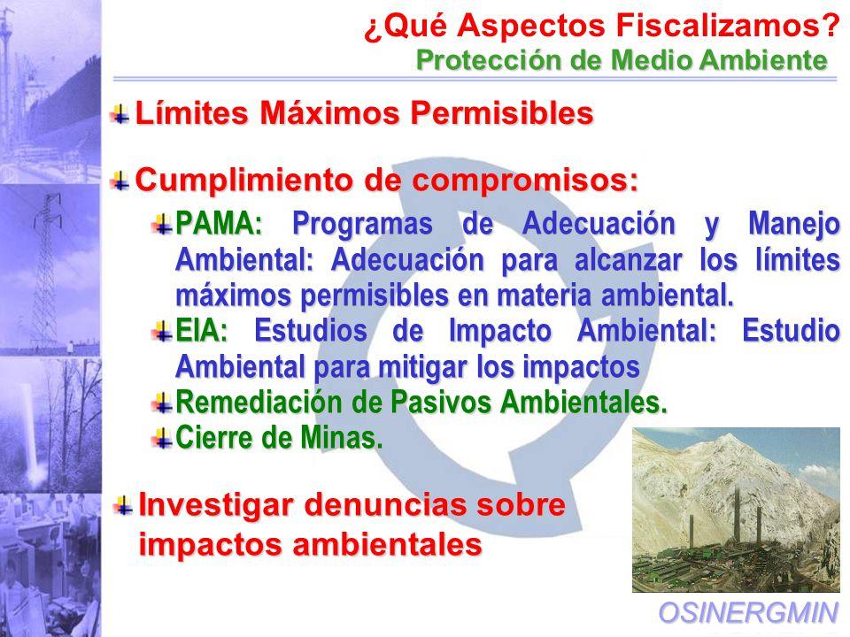 OSINERGMIN Cumplimiento de compromisos: PAMA: Programas de Adecuación y Manejo Ambiental: Adecuación para alcanzar los límites máximos permisibles en materia ambiental.