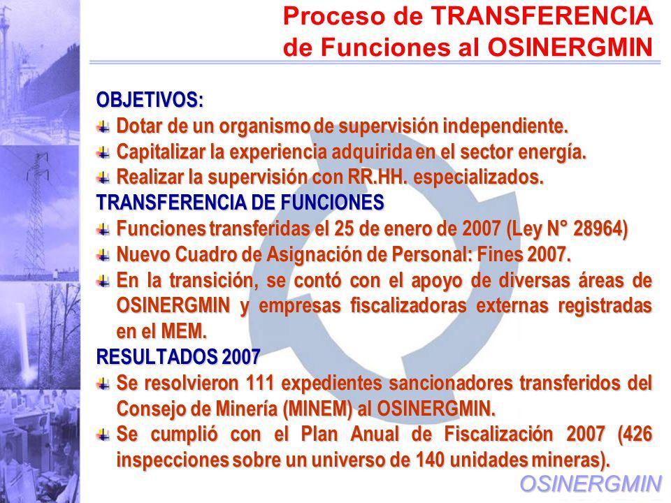OSINERGMIN OBJETIVOS: Dotar de un organismo de supervisión independiente.