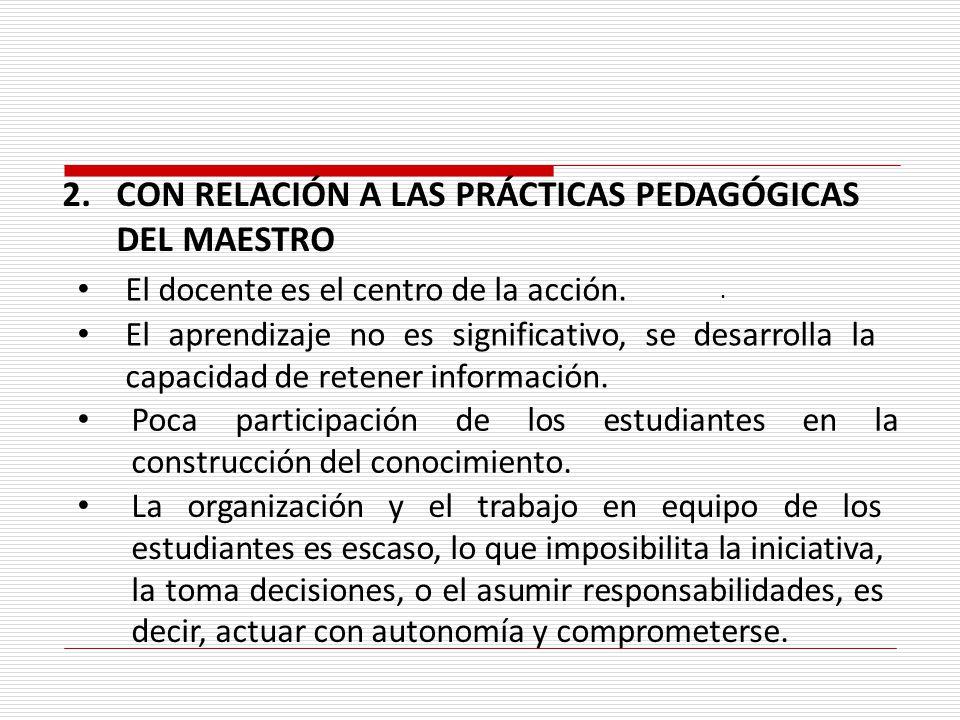 . 2.CON RELACIÓN A LAS PRÁCTICAS PEDAGÓGICAS DEL MAESTRO El docente es el centro de la acción. La organización y el trabajo en equipo de los estudiant