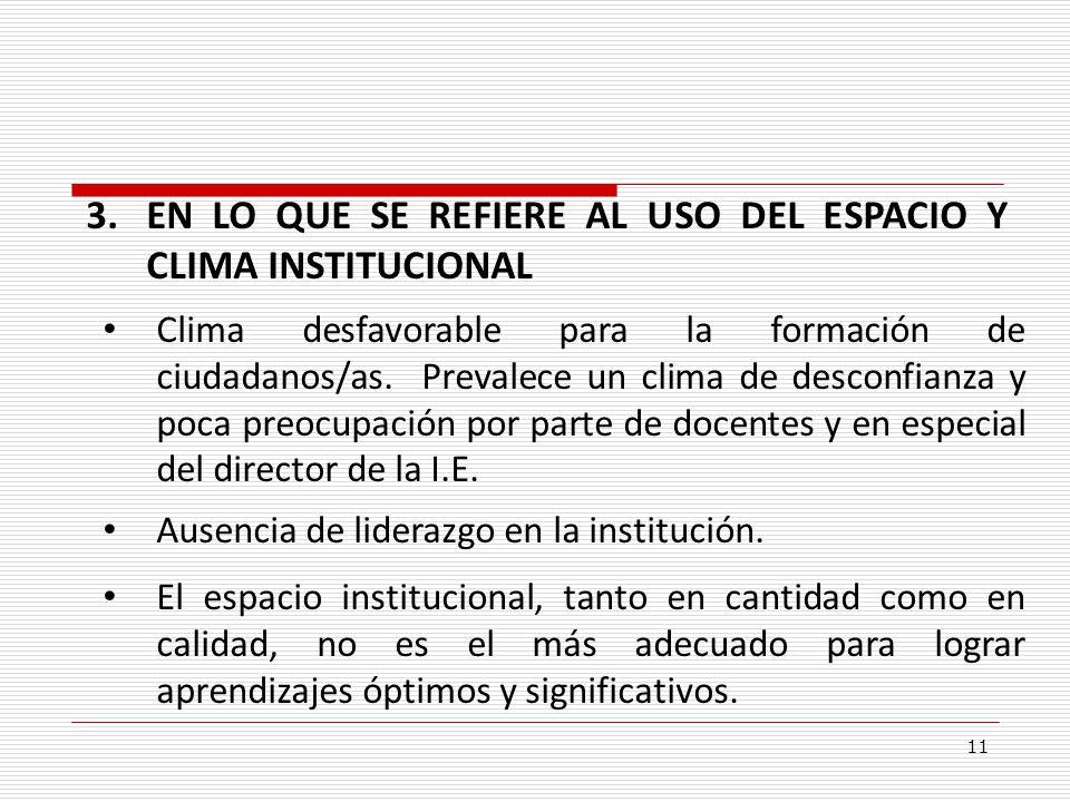 11. 3.EN LO QUE SE REFIERE AL USO DEL ESPACIO Y CLIMA INSTITUCIONAL Clima desfavorable para la formación de ciudadanos/as. Prevalece un clima de desco
