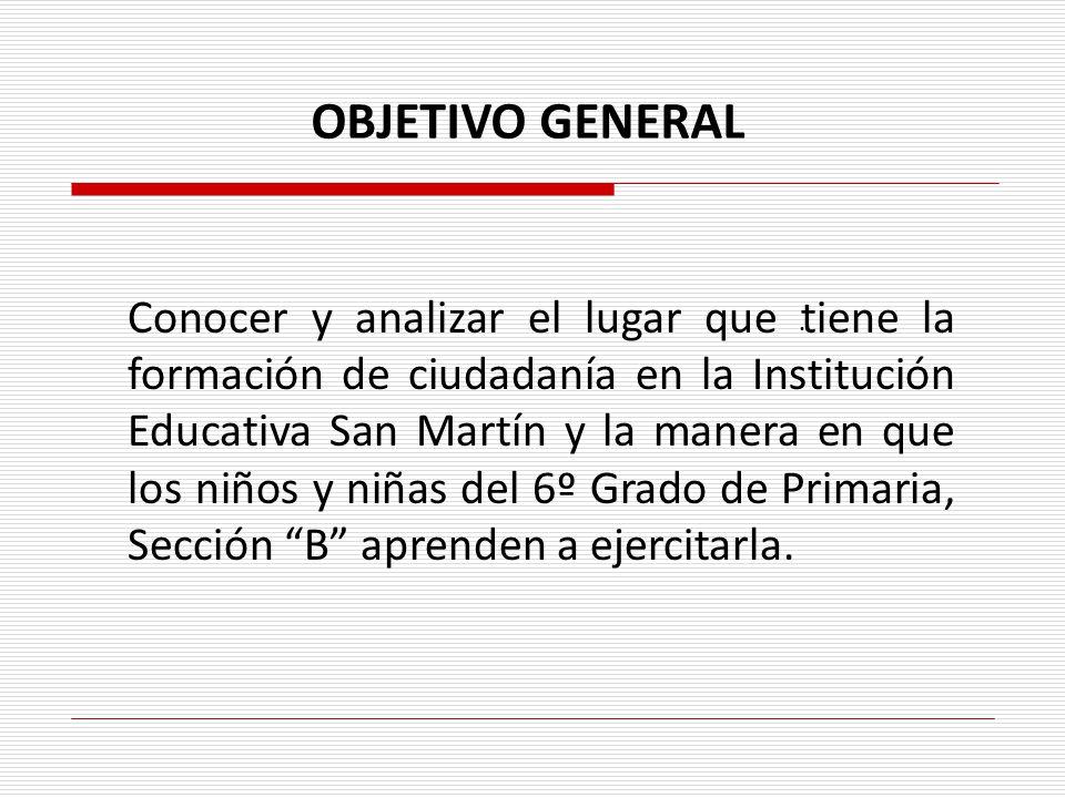 Conocer y analizar el lugar que tiene la formación de ciudadanía en la Institución Educativa San Martín y la manera en que los niños y niñas del 6º Gr