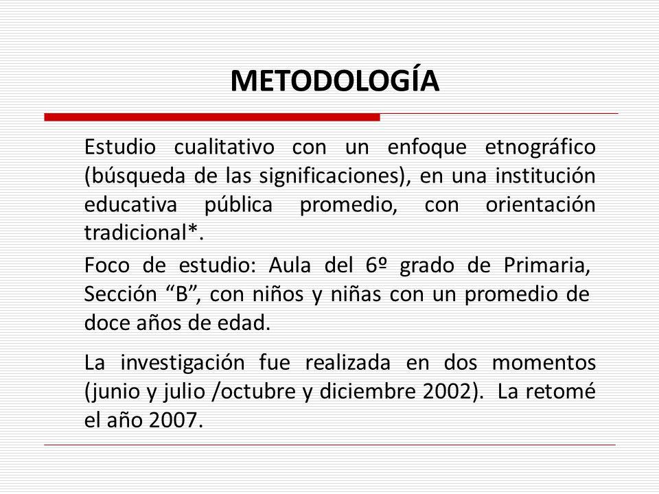 Estudio cualitativo con un enfoque etnográfico (búsqueda de las significaciones), en una institución educativa pública promedio, con orientación tradi