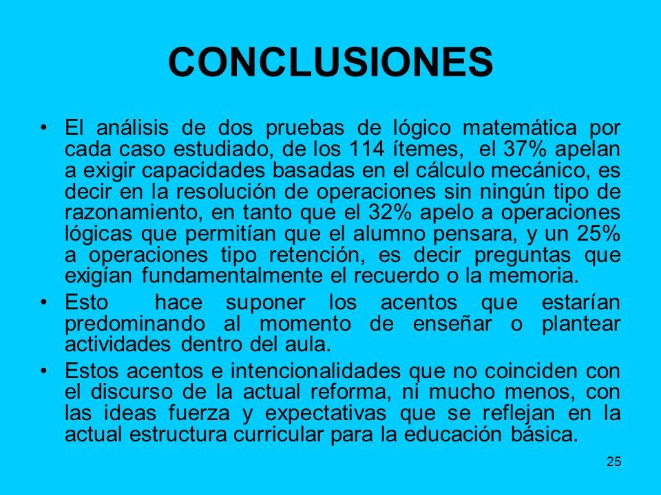 25 CONCLUSIONES El análisis de dos pruebas de lógico matemática por cada caso estudiado, de los 114 ítemes, el 37% apelan a exigir capacidades basadas