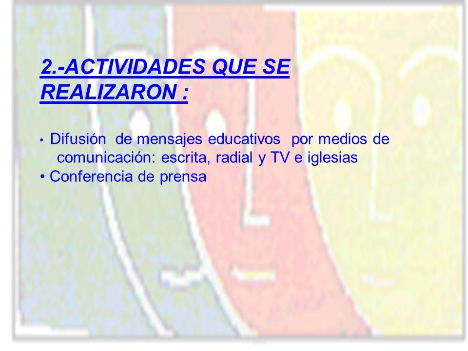 2.-ACTIVIDADES QUE SE REALIZARON : Difusión de mensajes educativos por medios de comunicación: escrita, radial y TV e iglesias Conferencia de prensa
