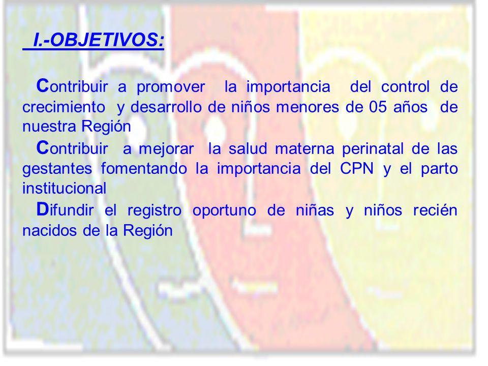I.-OBJETIVOS: C ontribuir a promover la importancia del control de crecimiento y desarrollo de niños menores de 05 años de nuestra Región C ontribuir