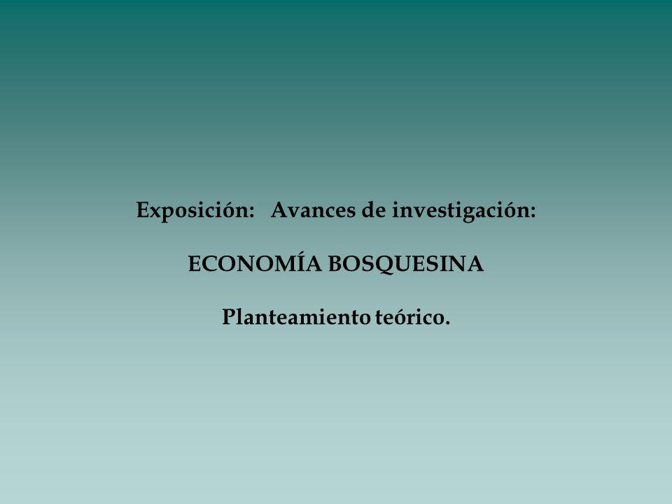 Exposición:Avances de investigación: ECONOMÍA BOSQUESINA Planteamiento teórico.