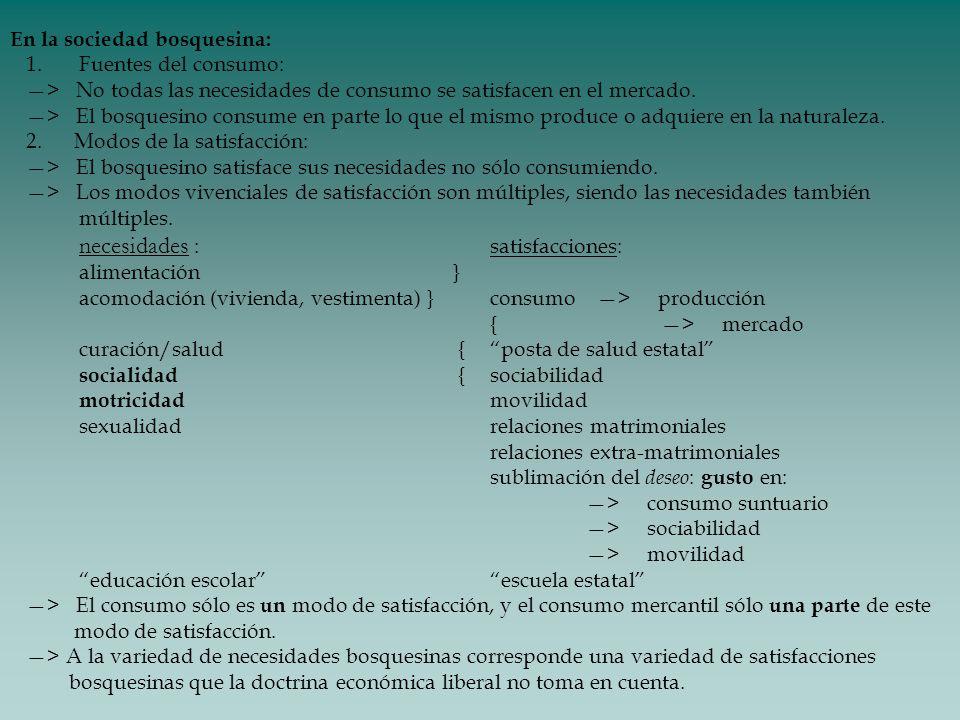 En la sociedad bosquesina: 1. Fuentes del consumo: > No todas las necesidades de consumo se satisfacen en el mercado. > El bosquesino consume en parte
