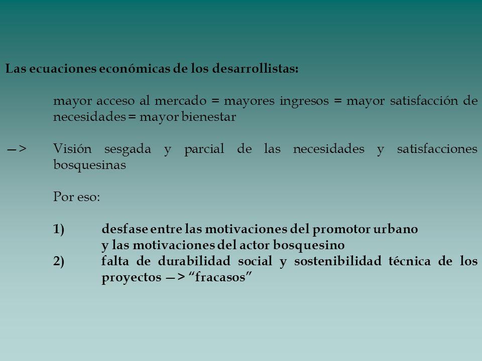 Las ecuaciones económicas de los desarrollistas: mayor acceso al mercado = mayores ingresos = mayor satisfacción de necesidades = mayor bienestar >Vis