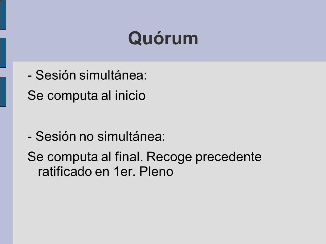 Quórum - Sesión simultánea: Se computa al inicio - Sesión no simultánea: Se computa al final. Recoge precedente ratificado en 1er. Pleno