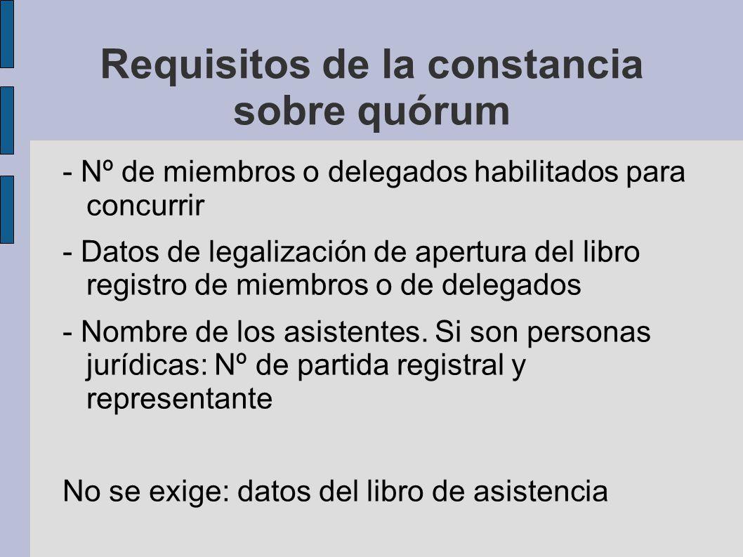 Requisitos de la constancia sobre quórum - Nº de miembros o delegados habilitados para concurrir - Datos de legalización de apertura del libro registr