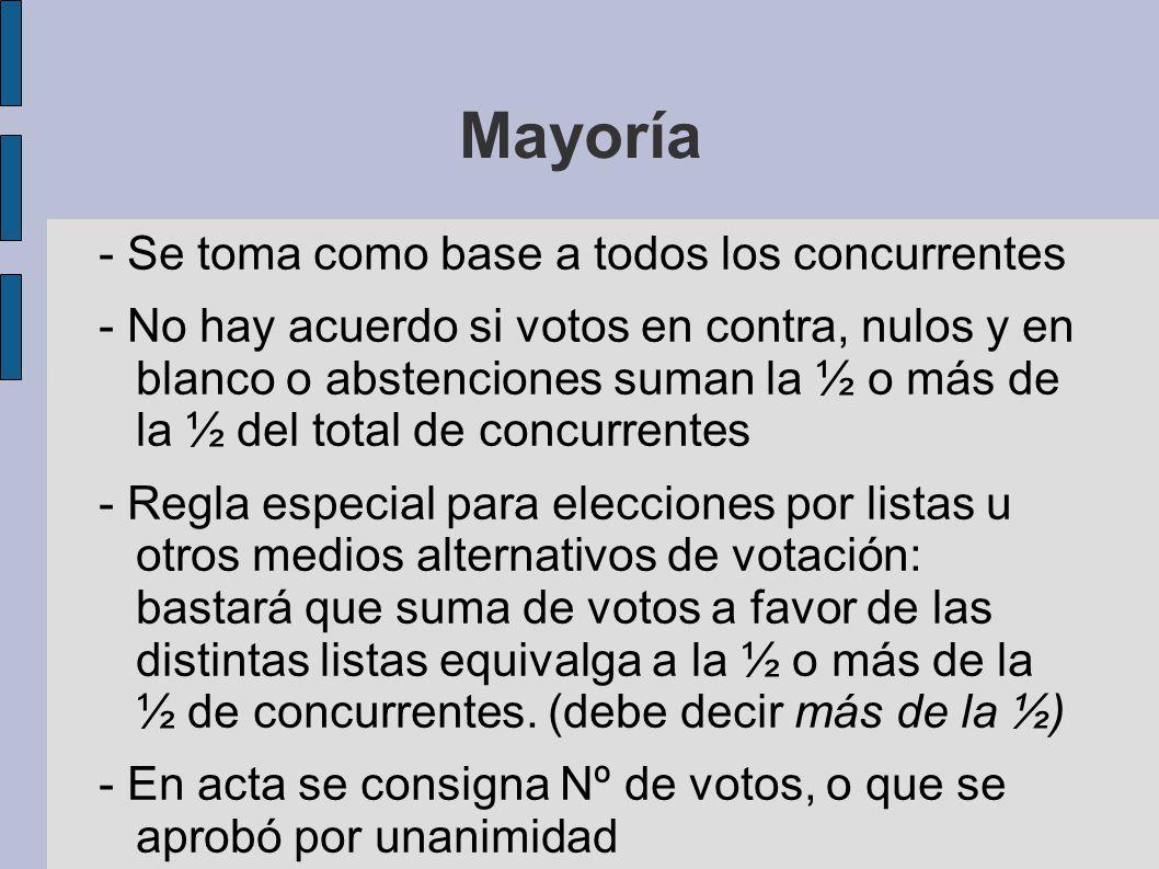 Mayoría - Se toma como base a todos los concurrentes - No hay acuerdo si votos en contra, nulos y en blanco o abstenciones suman la ½ o más de la ½ de
