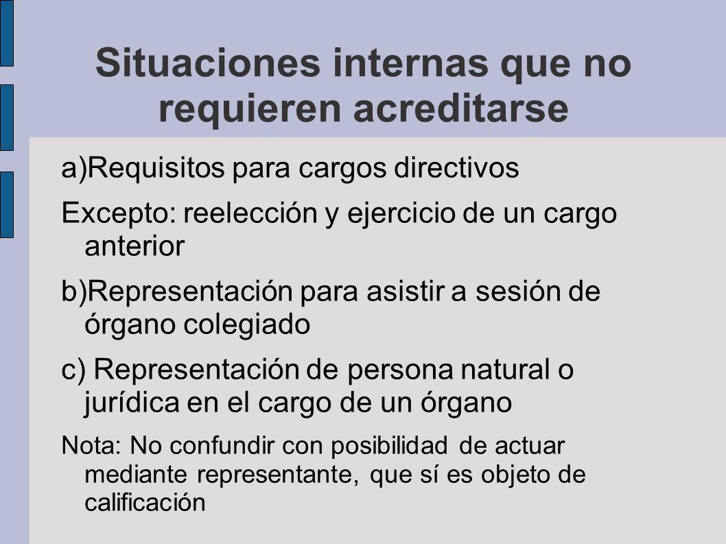Situaciones internas que no requieren acreditarse a)Requisitos para cargos directivos Excepto: reelección y ejercicio de un cargo anterior b)Represent