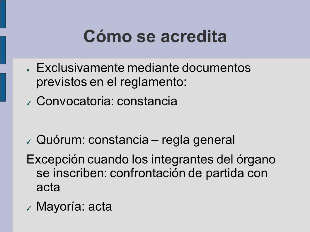 Cómo se acredita Exclusivamente mediante documentos previstos en el reglamento: Convocatoria: constancia Quórum: constancia – regla general Excepción