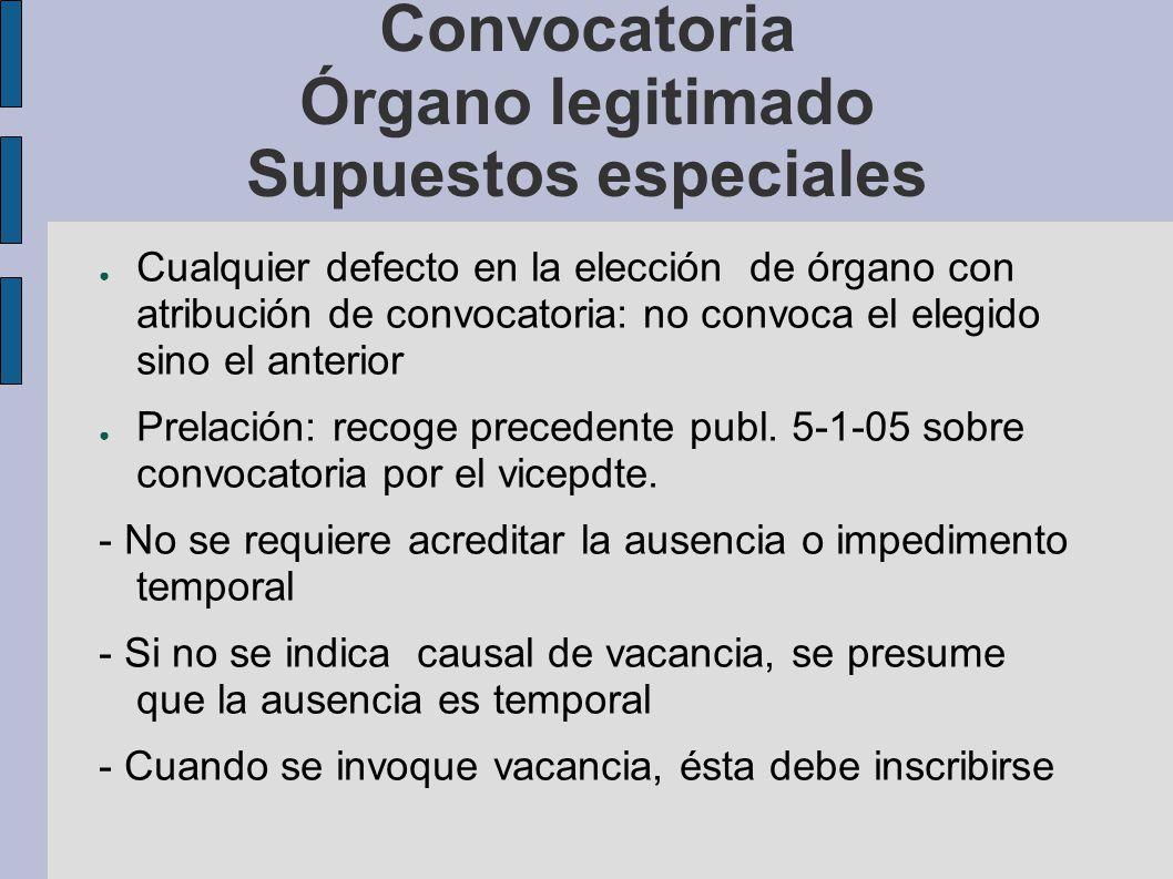 Convocatoria Órgano legitimado Supuestos especiales Cualquier defecto en la elección de órgano con atribución de convocatoria: no convoca el elegido s