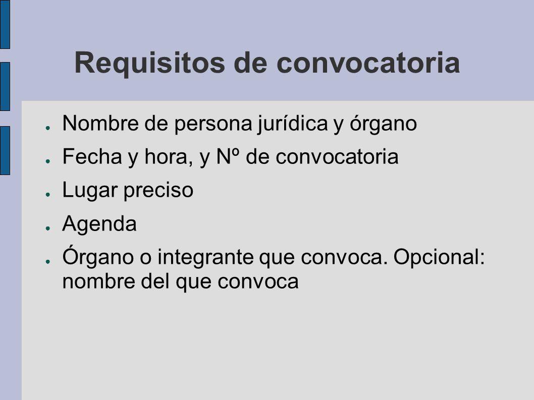Requisitos de convocatoria Nombre de persona jurídica y órgano Fecha y hora, y Nº de convocatoria Lugar preciso Agenda Órgano o integrante que convoca