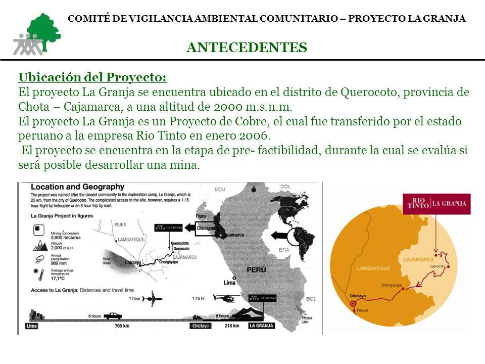 Formación del comité de vigilancia ambiental: En Noviembre 2006 se realizan talleres participativos en las 5 comunidades de la ZID y la empresa Rio Tinto.