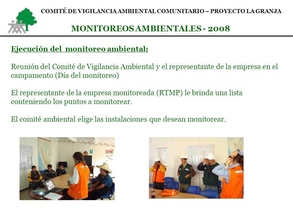 COMITÉ DE VIGILANCIA AMBIENTAL COMUNITARIO – PROYECTO LA GRANJA MONITOREOS AMBIENTALES - 2008 Ejecución del monitoreo ambiental: Monitoreo de las áreas seleccionadas por el comité de vigilancia ambiental – Campamento.