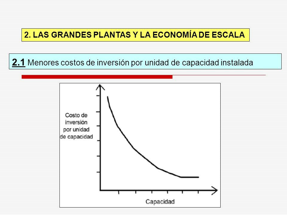 2.1 Menores costos de inversión por unidad de capacidad instalada 2. LAS GRANDES PLANTAS Y LA ECONOMÍA DE ESCALA