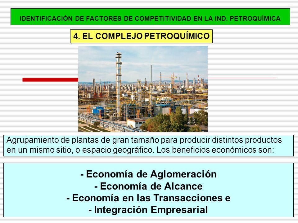 4. EL COMPLEJO PETROQUÍMICO Agrupamiento de plantas de gran tamaño para producir distintos productos en un mismo sitio, o espacio geográfico. Los bene