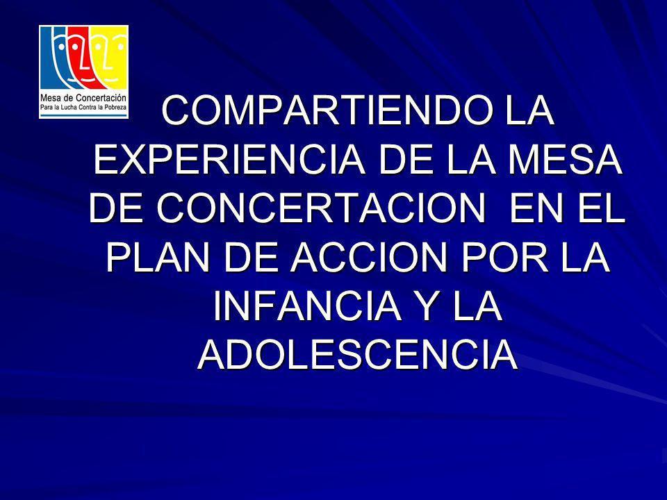 COMPARTIENDO LA EXPERIENCIA DE LA MESA DE CONCERTACION EN EL PLAN DE ACCION POR LA INFANCIA Y LA ADOLESCENCIA