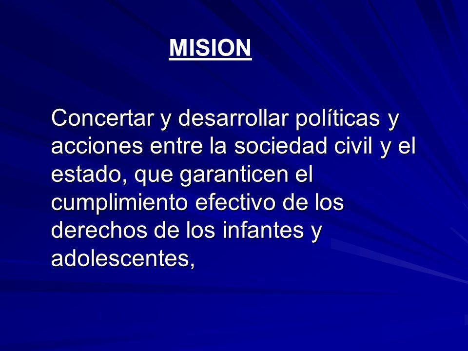 Concertar y desarrollar políticas y acciones entre la sociedad civil y el estado, que garanticen el cumplimiento efectivo de los derechos de los infantes y adolescentes, MISION