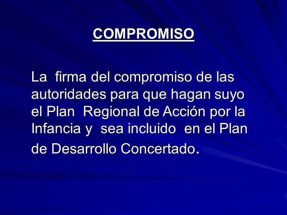 La firma del compromiso de las autoridades para que hagan suyo el Plan Regional de Acción por la Infancia y sea incluido en el Plan de Desarrollo Concertado.