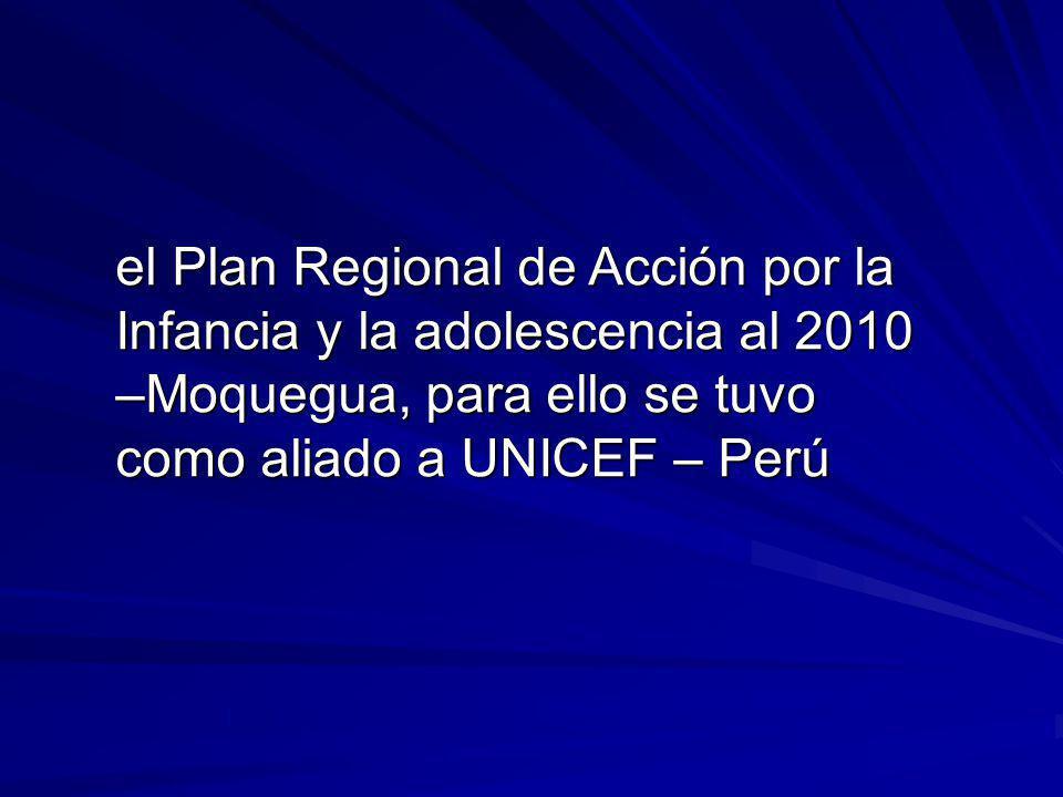 el Plan Regional de Acción por la Infancia y la adolescencia al 2010 –Moquegua, para ello se tuvo como aliado a UNICEF – Perú