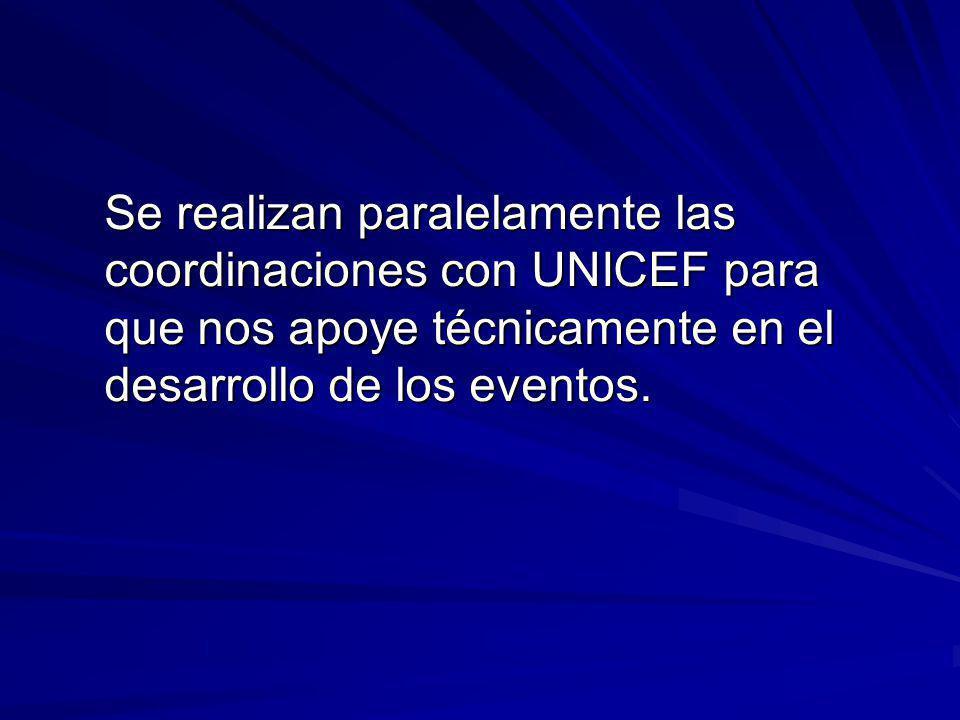 Se realizan paralelamente las coordinaciones con UNICEF para que nos apoye técnicamente en el desarrollo de los eventos.
